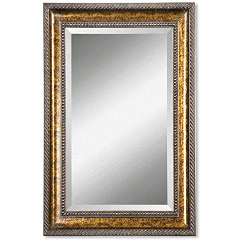 Howard Elliott Silas Covex Round Hanging Accent Wall Mirror, Silver Frame, Small