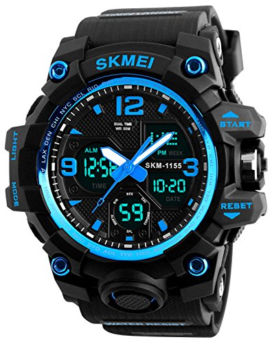 Men's Analog Digital 50M Waterproof Sports Watch Military Multifunction Dual Time Stopwatch Alarm Backlight Blue Watch ()