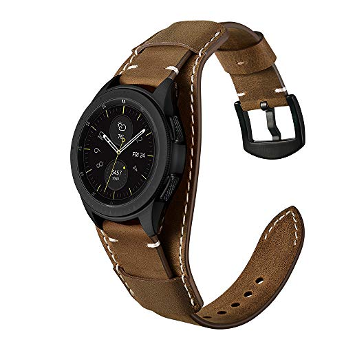 Leather Cuff Band - Genuine Leather Cuff Watch Band,20mm 22mm Cuff Leather Watch Band for Heart Rate smartwatch,Compatible with Galaxy Watch 42mm / 46mm,Fossil Q Explorist Gen 4,20mm Coffee