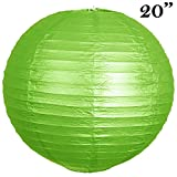 Tableclothsfactory 20'' Paper Chinese Lantern Lamp Shade Hanging Party Event Decor Set - Lime Green- 12 PCS