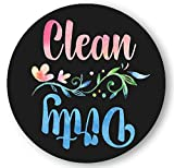 Dishwasher Magnet Clean Dirty Trendy Boho Watercolor Art 3 inch Round Magnet - Art Lovers Kitchen Magnet with Decorative Flower for Home Decor, Gift for Men & Women,Kids or Party Favors, Made in USA