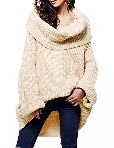 HaoDuoYi Womens Casual Solid High Cowl Neck Asymmetric Hem Knitted Pullover (Autumn Cashmere Cowl Neck Sweater)