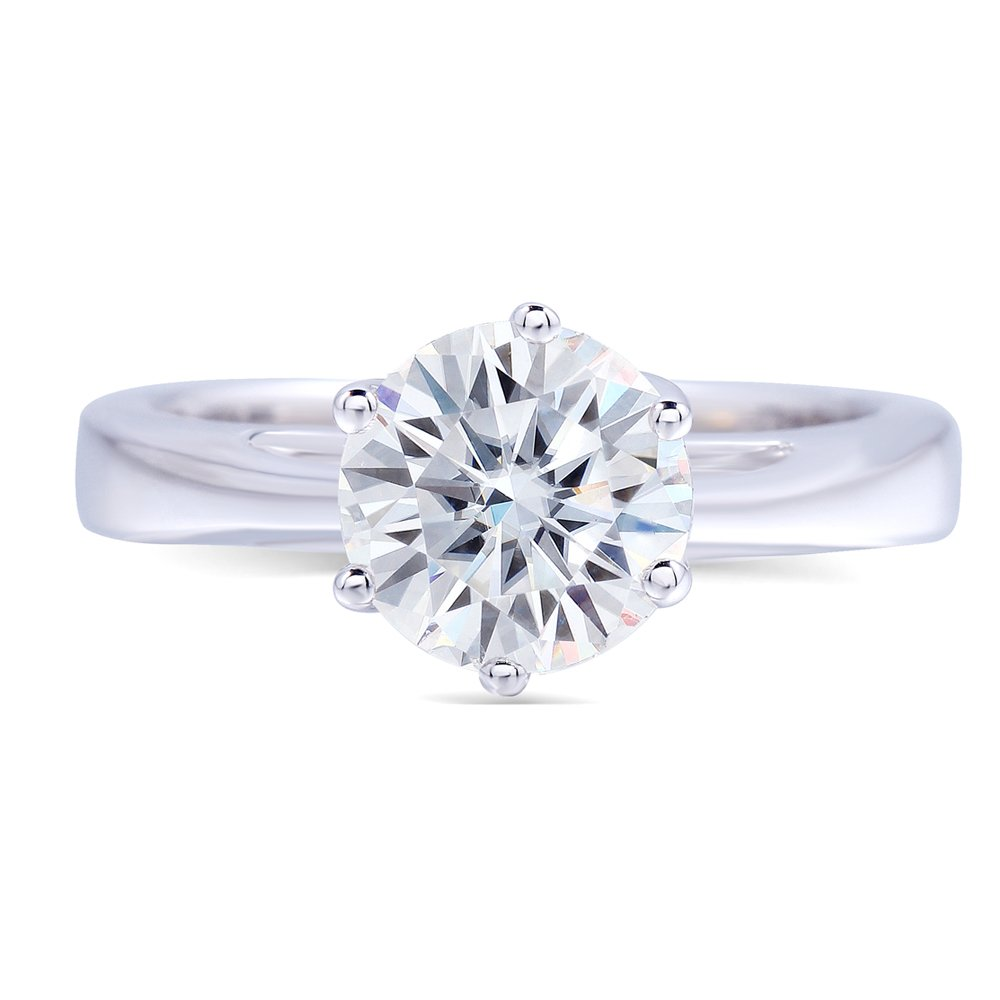 TransGems Platinum Plated Silver,1.2ct GH Color Round Moissanite Engagement Solitaire Rings for Women (6.5)