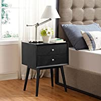 Modway Dispatch Mid Century Modern Nightstand In Black - End Table For Bedroom Lamps - Bed Stand - Available In: Black - White - Natural - Walnut