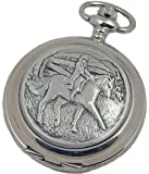 A E Williams 4835 Horse and Rider  mens quartz pocket watch with chain