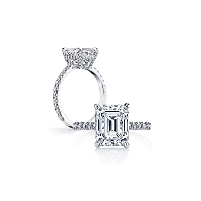 6dcb4b468 Erllo 925 Sterling Silver 3 Carat Emerald Cut CZ Cubic Zirconia Women  Solitaire White Gold Plated