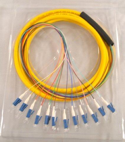 12 Fiber Singlemode 9/125 LC Pigtail - (3 Meters)