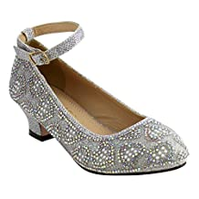 Chase & Chloe EE93 Girl's Glitter Heart Rhinestone Strap kitten Heel Dress Pumps