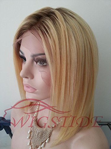 Wigstide Youthful Fascinating Sexy Short Straight Bob Hairstyle Lace Wig 100% Real Human Hair 12 Inches (12 inches , Full Lace, Same as picture)