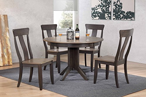 "Iconic Furniture 5 Piece 45"" x 45"" x 63"" Contemporary Panel Back Dining Set, Antique Grey/Black, 63"