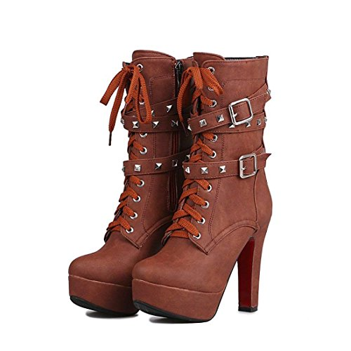 Women Mid Calf Leather Boots Sexy Lace up Military Buckle Rivet Motorcycle Cowboy High Heels Boots(Brown 10.5 B(M) US)