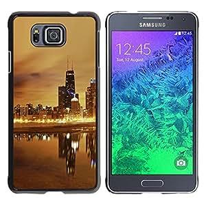 TopCaseStore / la caja del caucho duro de la cubierta de protección de la piel - Night Beige Gold Nyc Wtc - Samsung GALAXY ALPHA G850