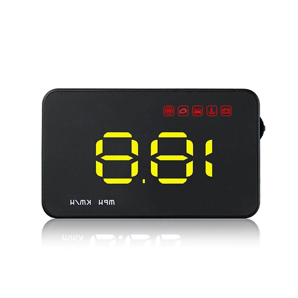 KKmoon 3, 5\'Auto HUD Head up Display mit OBD OBDII Schnittstelle Plug & Play KM/h MPH Geschwindigkeit Warnung Wassertemperatur Spannung Kilometer