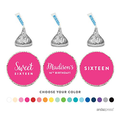 Andaz Press Personalized Chocolate Drop Labels Trio, Fits Hershey's Kisses, Sweet 16 Birthday, 216-Pack, Custom Made Any Name]()