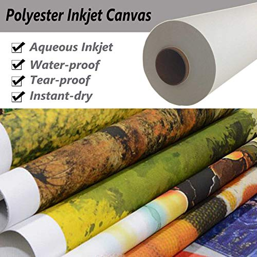 Premium Digital Printing Waterproof 100% Polyester Inkjet Water-Based Matte Art Canvas,Great for Water-Based dye and Pigment Printers (EPSON,HP,Canon Aqueous ()