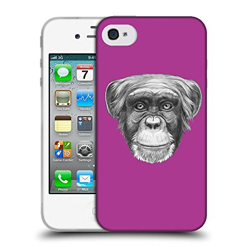 GoGoMobile Coque de Protection TPU Silicone Case pour // Q05170621 Dessin singe byzantin // Apple iPhone 4 4S 4G