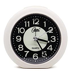 OSMOFUZE Mini Fluorescent Bedroom Alarm Clock, Silent Non Ticking Analog Small Lightweight Quartz Alarm Clock with Light, Battery Operated (White, Round)