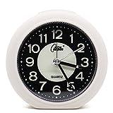 OSMOFUZE Mini Fluorescent Bedroom Alarm Clock, Silent Non Ticking Analog Small Lightweight Quartz