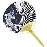 Japanese Style Hand Fan Paper Hand Held Fan Wood Handle, No.6