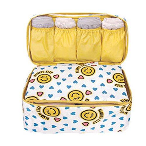 Portable Multifunction Waterproof Travel Pouch Toiletry Bag Case Wash Organizer Packing Cubes Travel Case Underwear Storage Boxes Bra Organizer Socks Bag (Cute Yellow Smile)