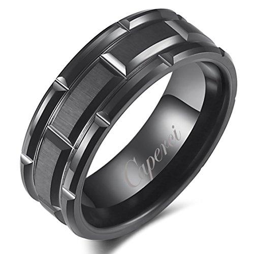 Caperci Men's 8mm Matrix Brick Pattern Black Tungsten Wedding Band Ring Size 8