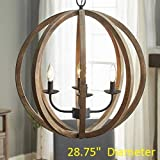 Arteolamp 28.75″ X31″ Farmhouse Pendant Light Orb Chandelier Light Wood Wooden Frame Iron Band Sphere Globe Ceiling Light Fixture 4 Lamps Review