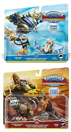 Skylanders SuperCharged Combo Dual Pack: Hurricane Jet-Vac and Jet Stream & Shark Shooter Terrafin and Shark Tank Supercharged