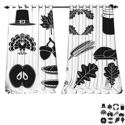 DESPKON-HOME Blackout Window Curtain 13 Black White Thanksgiving Silhouette Elements Tie Up Printed Blackout Curtain
