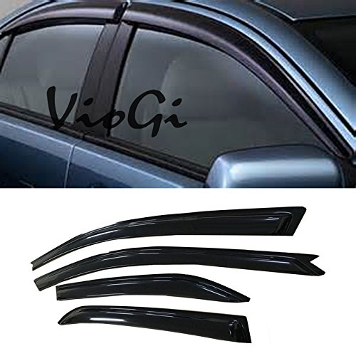 VIOJI 4pcs Out-Channel Reinforced Acrylic Sun Rain Guard Vent Shade Window Visors For 02-06 Mitsubishi Lancer Sedan