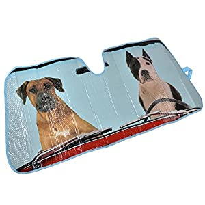 2 Dogs Auto Windshield Sun Shade for Car SUV Truck - Pet Pals - Double Bubble Foil Jumbo Folding Accordion