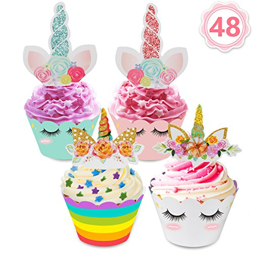 Price comparison product image 48pcs Unicorn Cupcake Toppers and Wrappers Set Cake Toppers Decoration for Kids Birthday Party Wedding By Mibote