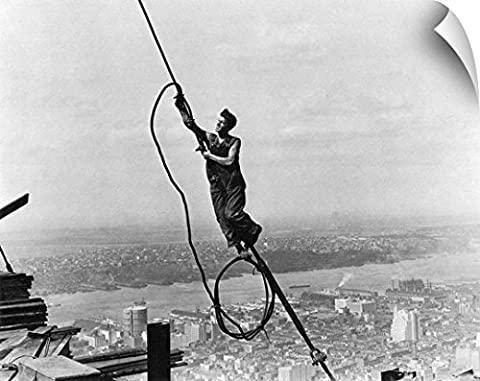 Canvas On Demand Wall Peel Wall Art Print entitled Hine: Steelworker, 1931, atop the Empire State - Empire State Building Photographs