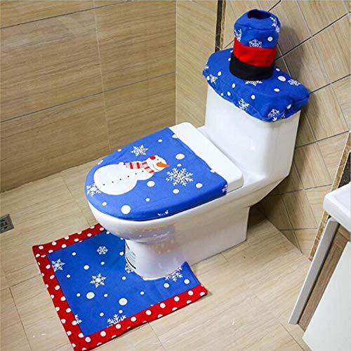 Christmas Decoration Bathroom - Christmas Bathroom 3pcs Set Blue Tree Snowman Toilet Seat Cover Year Decoratie Decor Wc - Sticky Lifter Hinge Bone Vinyl Cover Jiahonghome Holder Hinges Vera Ge ()