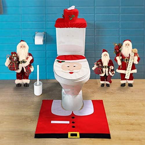 Mbuynow Zogin Insieme di 3 Decorazioni di Natale Babbo Sedile WC Coperchio e Tappeto & Scatola del Tessuto di Copertura Insieme