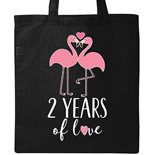 Inktastic 2nd Anniversary 2 Years Gift Cute Flamingo Tote Bag Black by inktastic