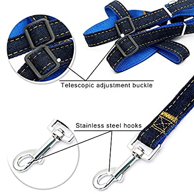 Xilos Step-in Puppy Leash Harness - Jean Pet Traction Rope or Lead - Dog Chock Chain, Pull Adjustable & Heavy Duty Dog Walking Training for Medium and Large-sized Breed