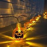 Dailyart Orange Halloween Pumpkin Lights, 3D Pumpkin String Light Indoor LED Jack-O-Lantern Halloween Lights (30 LEDs, Battery-powered, 11feet/3.5meters)