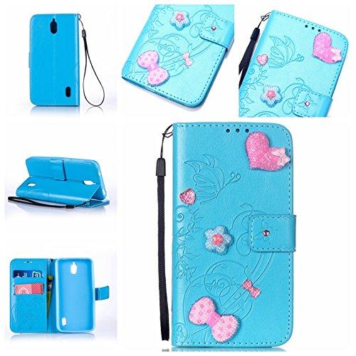 Handyhülle für Huawei Y625, BONROY® PU Leder Hülle Flip Case Booklet Geldbörse mit Standfunktion, Kartenfach & Weich TPU Innere - Pink Love Heart
