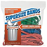 Alliance Sterling SuperSize Bands Resealable Bag Containing Eight Each 12 Inch Red, 14 Inch Green and 17 x 1/4-Inch Blue Heavy Duty Rubber Bands - 8997