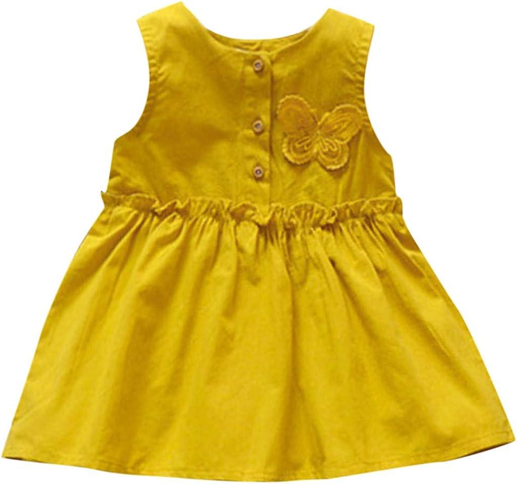 Transer Toddler Baby Girls Butterfly Cute Dress Sleeveless Ruffles Button Down Casual Shirt Dresses for Kids