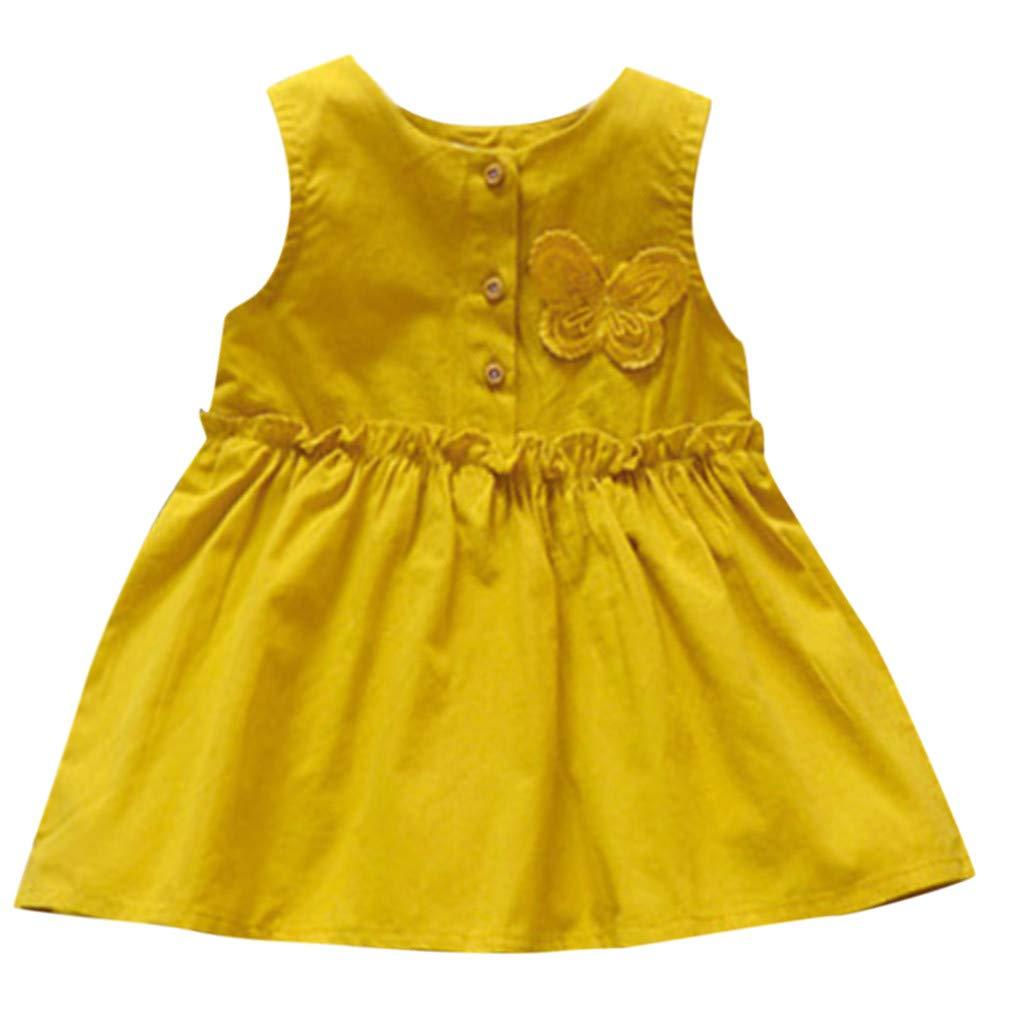 Jchen(TM) Summer Princess Girls Dress Infant Toddler Baby Girls Dress Sleeveless Button Princess Butterfly Playwear Dress (Age:6-12 Months, Yellow)