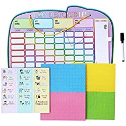 """Responsibility Chore Chart for 4 Kids with Magnetic Stars and Dry Erase Marker by Yoyoboko, 16.4 x 13"""""""