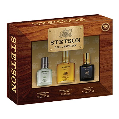 Stetson 3 Piece Gift Set (0.5 Ounce Black CP Plus 0.5 Ounce Caliber CP Plus 1 Ounce Stetson CP) (Set Gift Stetson)