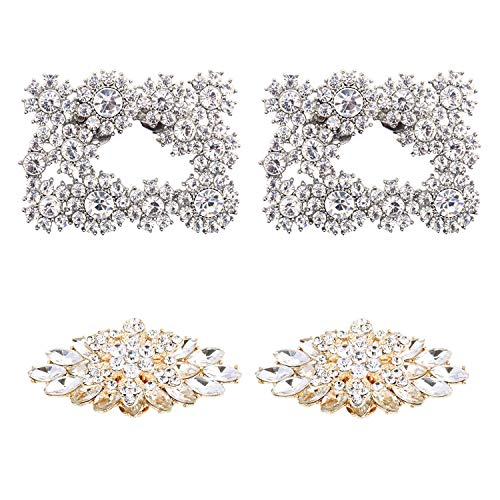 - ElegantPark 2 Pairs Rhinestones Crystal Shoe Clips Buckle for Wedding Party Decoration Silver & Gold