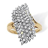 18K Yellow Gold over Sterling Silver 1/7 cttw Round Diamond Cluster Ring (GH Color, I3 Clarity)