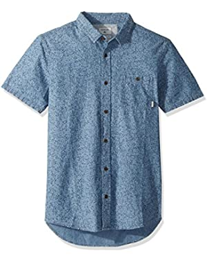 Men's Printed Chambray Short Sleeve Woven