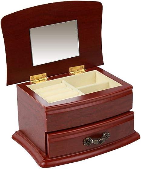 Cajas para Joyas de Madera 2 Capas Cajas de Almacenaje para Pulseras Relojes Collares Anillos Cajas de Regalo Cofres para Joyas Cajas para Guardar Joyas Cajas para Exhibidores de Joyas con Espejo: