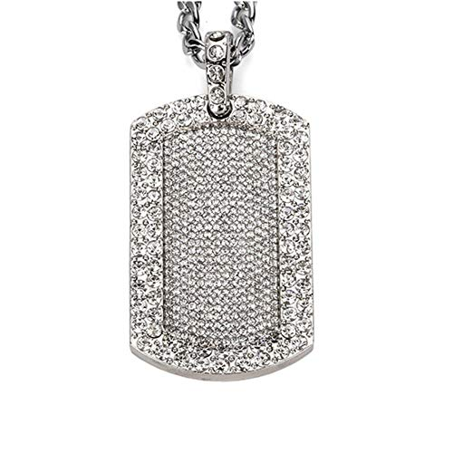 AOVR Hip Hop CUBAN LINK Chain 14k Gold Silver Plated CZ CRYSTAL Bling Bling Fully Iced-Out Dog Tag Pendant (Silver) ()