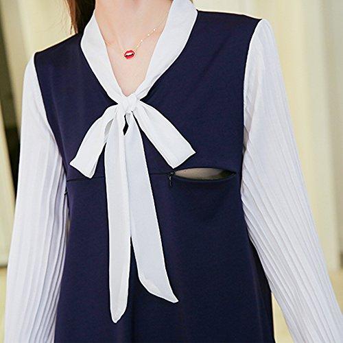 Allattamento Vestito Blu Scuro Lunga Manica Primavera al ZEVONDA Alta seno all'aperto qualità Moda Maternità Pwq4PgxTS8