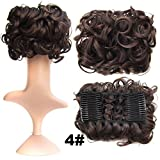 S-ssoy Women's Short Messy Curly Dish Hair Bun Piece Extension Easy Stretch Hairpiece Combs Clip in Ponytail Extension Scrunchy Scrunchie Chignon Tray Ponytail for Girl Lady Women,4#
